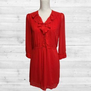 H&M Coral Sheer Sleeves Dress Size 10